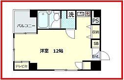 富美第一ビル 2階ワンルームの間取り