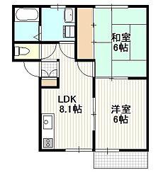 広島県広島市佐伯区五日市中央3丁目の賃貸アパートの間取り