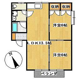 田隈コーポ[2-A号室]の間取り