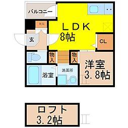 (仮称)鳴海町字京田Aコーポ[2階]の間取り