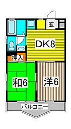 ロキシーパンセ中浦和[3階]の間取り
