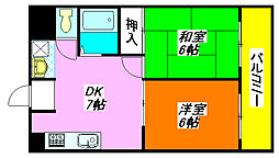 スカイ・ハイツ 603号室[6階]の間取り