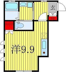 エム・クール 2階ワンルームの間取り