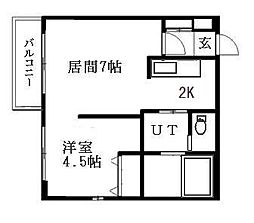 北海道札幌市豊平区月寒西一条10丁目の賃貸マンションの間取り