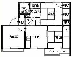 兵庫県姫路市飾磨区構5丁目の賃貸アパートの間取り