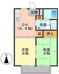 広島県福山市本庄町中3丁目の賃貸アパートの間取り