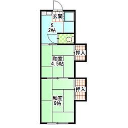 丸い荘[8号室]の間取り