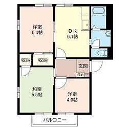 ハイツサンモールI[2階]の間取り