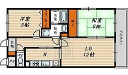 リッツプラザ城東 6階2LDKの間取り