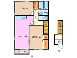 メープル・クロス・タカツカ II番館[2階]の間取り