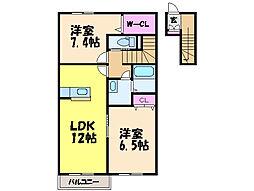 愛媛県松山市西垣生町の賃貸アパートの間取り