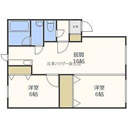 北海道札幌市北区新川二条8丁目の賃貸アパートの間取り