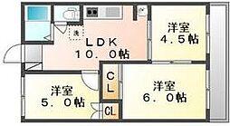 香川県高松市田村町の賃貸マンションの間取り
