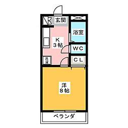 リトルタウン八田[2階]の間取り