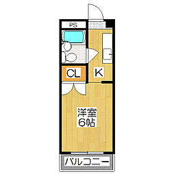 シャルム小松原[203号室]の間取り