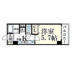 Osaka Metro谷町線 千林大宮駅 徒歩16分の賃貸マンション 2階1Kの間取り