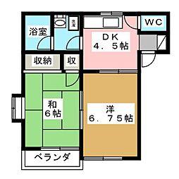 ミラハイツD[2階]の間取り