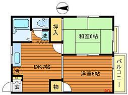 東京都練馬区関町南2丁目の賃貸アパートの間取り