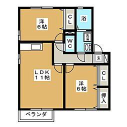 三重県桑名市大字和泉の賃貸アパートの間取り
