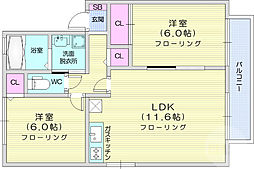 仙台市営南北線 北仙台駅 徒歩11分の賃貸アパート 2階2LDKの間取り