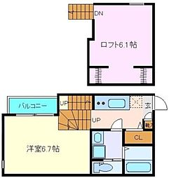 仙台市営南北線 河原町駅 徒歩6分の賃貸アパート 2階1Kの間取り