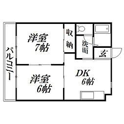 静岡県浜松市中区高丘東2丁目の賃貸マンションの間取り