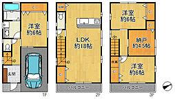 大阪市西淀川区大和田4丁目 中古戸建 3SLDKの間取り