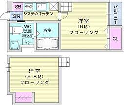 JR東北本線 仙台駅 徒歩14分の賃貸アパート 1階1Kの間取り