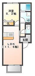 JR赤穂線 西大寺駅 バス10分 西大寺下車 徒歩2分の賃貸アパート 1階1LDKの間取り