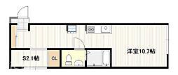 JR山陽本線 五日市駅 徒歩19分の賃貸アパート 1階ワンルームの間取り