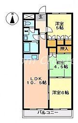 徳島県徳島市西新浜町1丁目の賃貸マンションの間取り