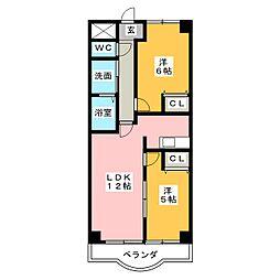 茶臼山ハイツ[7階]の間取り