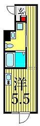 JR山手線 鶯谷駅 徒歩6分の賃貸マンション 3階ワンルームの間取り