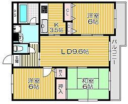 京阪本線 土居駅 徒歩4分の賃貸マンション 2階3LDKの間取り