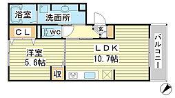 兵庫県姫路市亀山の賃貸アパートの間取り
