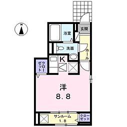 愛知県名古屋市西区上橋町の賃貸アパートの間取り