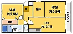 カサベルデ 3階2LDKの間取り