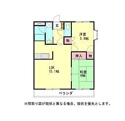 愛知県一宮市奥町字郷中江東の賃貸アパートの間取り