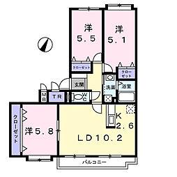 北海道札幌市白石区北郷五条5丁目の賃貸マンションの間取り
