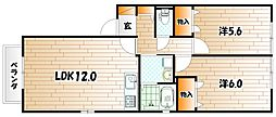 メゾンエムロードF棟[2階]の間取り