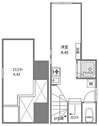 東急目黒線 不動前駅 徒歩4分の賃貸アパート 2階ワンルームの間取り