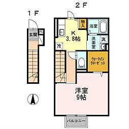 神奈川県厚木市妻田東1丁目の賃貸アパートの間取り