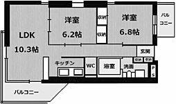 兵庫県西宮市常磐町の賃貸マンションの間取り