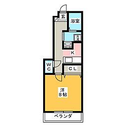 愛知県岡崎市北野町字二番訳の賃貸アパートの間取り