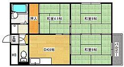 広島県広島市南区丹那新町の賃貸マンションの間取り