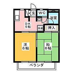 ツインKG B[2階]の間取り
