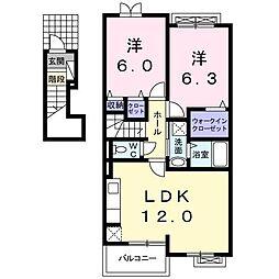 広島県東広島市西条町大沢の賃貸アパートの間取り