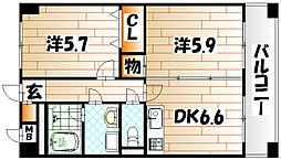 ニューシティアパートメンツ南小倉I[6階]の間取り