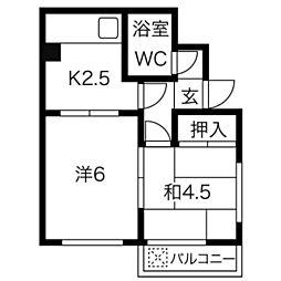 愛知県稲沢市駅前2丁目の賃貸マンションの間取り