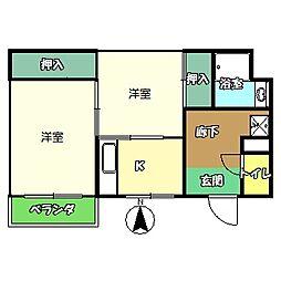 高知県高知市愛宕町4丁目の賃貸アパートの間取り